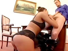Pretty secretary fucking in thigh high stockings