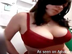 Sexy Brunette Share Her Huge Tits With The Camera