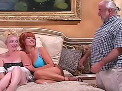 Two older women have fucking machine fun