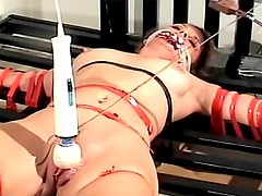 Bound and gagged girl in his dungeon