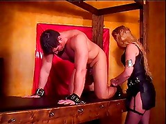 Mistress Amberle, scratches her bound slaves body