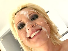 Raunchy Blonde Babe Antynia Rouge Gets Gangbanged and Facialized