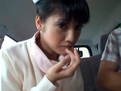Sexy Asian Nurse Giving a Blowjob in a Car