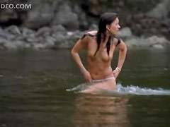 Sexy Erica Durance Swimming Topless