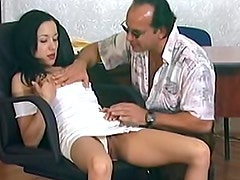 Skinny girl gives pussy to older man