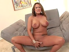 Curvy Trina Michaels finger fucks solo