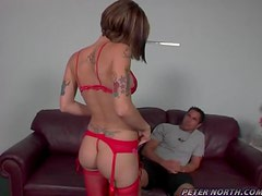 Allie Sin the sexy babe in red lingerie takes big cock in her ass