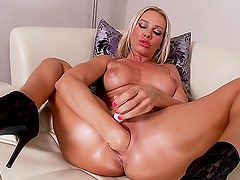 Sexy high heels on self fisting blonde