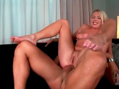 Hot anal with a little tits blonde gets him off