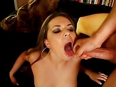 Cherry Lane gets her mouth filled with warm jizz