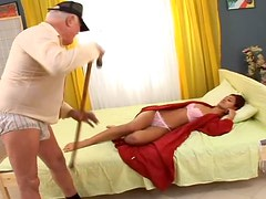 Hot redhead chick fucks her friend's grandfather after sucking his dick