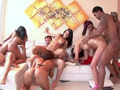 Anal Latinas Have Fun In a Cock-Bursting Interracial Group Sex Party