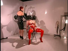 Dominant Redhead Likes Suffocating Her Busty Lesbian Sex Slave