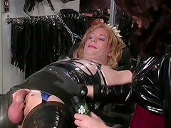 Blonde Cross Dresser Gets Tied Up Before Receiving a Ball Torture