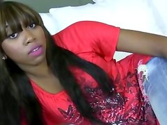 Black naughty teen gets herself off