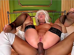 Costume girl gets black cock in ass