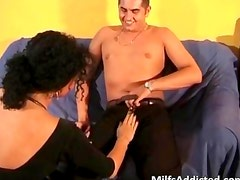 Horny milf slut with large boobs blows