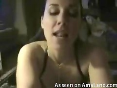 Babe giving a frantic blowjob for the cum