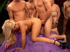 Lustful Sharka Blue gets fucked and creampied by 50 guys