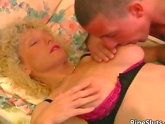 Nasty blond MILF gets pussy fingered