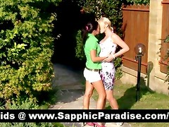 Amazing blonde and brunette lesbos licking and fingering pussy and having lesbo love