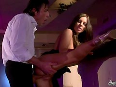 Horny Debbie White rides a cock and gets a mouthful