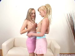Eighteen Year Old Blondes Have A Threesome With A Big Cock