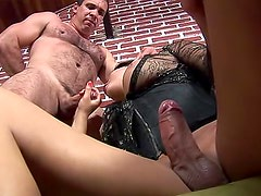 Fisted tranny asshole takes a big cock
