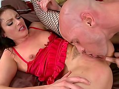 Wet oral and hot fucking with stockings slut