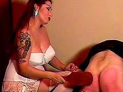 Satin blouse mistress paddles his as