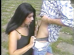 Young tranny wraps her pretty lips around a thick hard cock then gets drilled