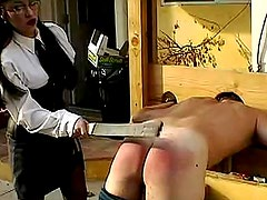 Mistress paddles his ass hard