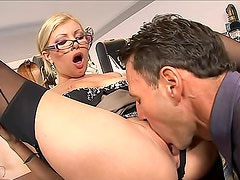 Classy office girl horny for hard cock