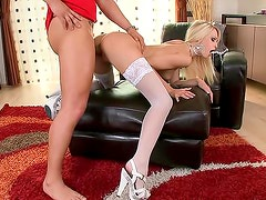 Sexy blonde in white stockings loves blowjob