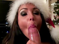 Christmas lingerie on his cocksucking girlfriend