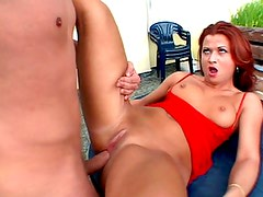 Redhair wench with precious engulfing skills gets her ass fucked