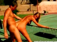 Hot blonde fucked bent over a tennis net
