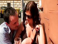 Brunette hottie fucked outdoors