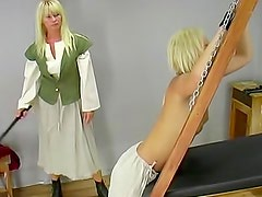 Skinny blonde tortured and bondaged by her mother