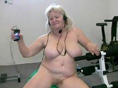 Fat granny working out naked