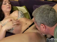 Smoking hot babe Beverly Hills doesn't shave and he likes it