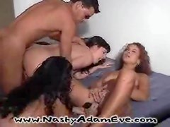 Wild interracial sex party gets real hardcore orgy