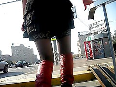 Alto - Girl in black stockings & red high boots going upstairs 1