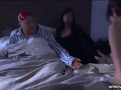 Carla Gallo Strips To Her Panties And Joins a Couple In a Bed