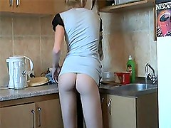 Homemade Vid Of A Hot Blonde Ex-GF Fingering in the Kitchen