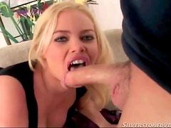 Big lips chick with curves sucks on big cock