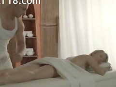 Blonde woman Carla banged on the table