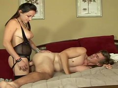 Hot Brunette Fucks Her Boyfriend With A Really Big Strapon