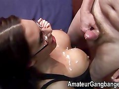 Three women fucked and cummed on at an orgy