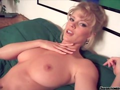 Glamorous beauty with big natural tits fingers